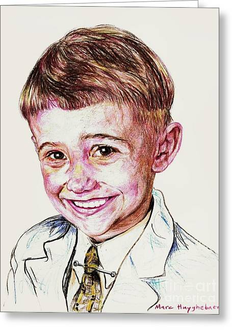 Young Boy Greeting Card by PainterArtist FIN