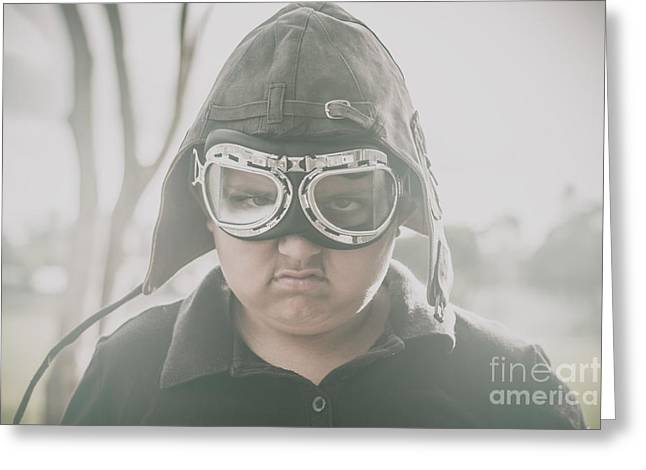 Young Boy Pilot. Battle Ready Greeting Card