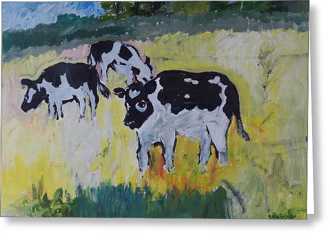 Young Bullocks In A Meadow, 1982 Oil On Canvas Greeting Card