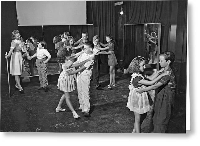 Young Child Actors In Hollywood Learning Folk Dancing At Their S Greeting Card
