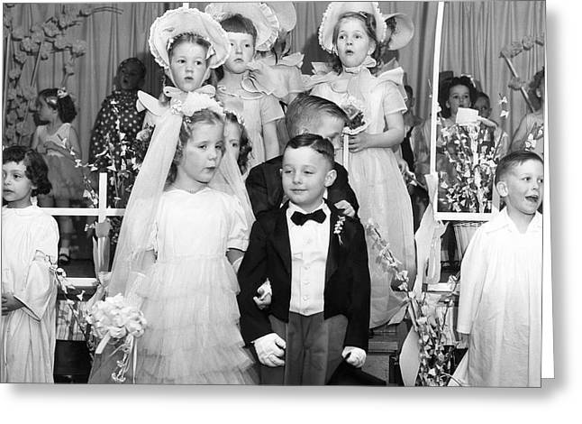 Young Children Stage Wedding Greeting Card by Underwood Archives