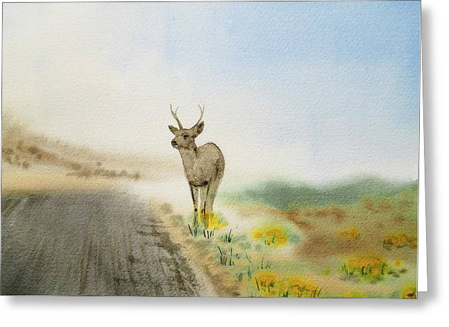 Young Deer On The Foggy Road Greeting Card