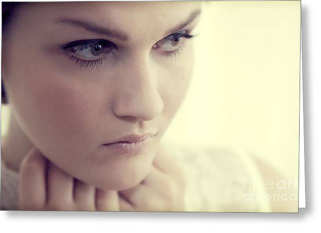 Young Elegant Woman In Glamour Fashion Greeting Card by Michal Bednarek