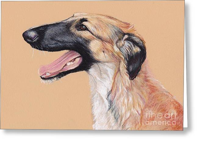 Young Female Borzoi Greeting Card by Charlotte Yealey