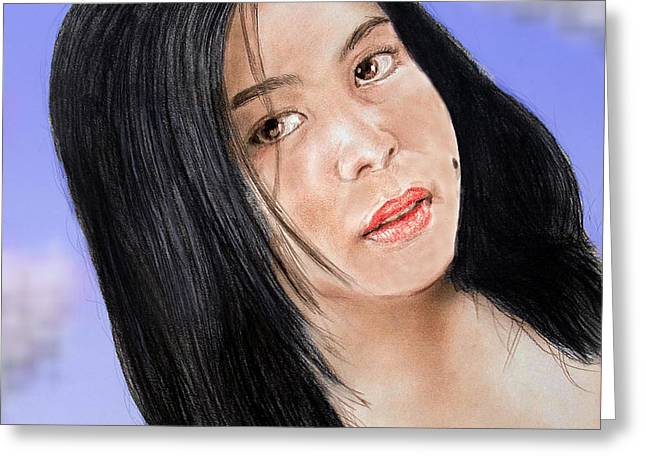 Young Filipina Beauty With A Mole Model Kaye Anne Toribio  Altered Version Greeting Card by Jim Fitzpatrick