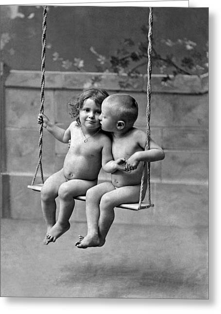 Young French Lovers On A Swing Greeting Card