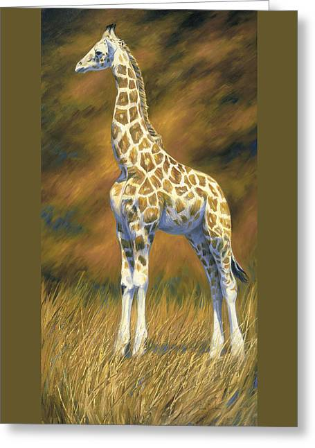 Young Giraffe Greeting Card by Lucie Bilodeau