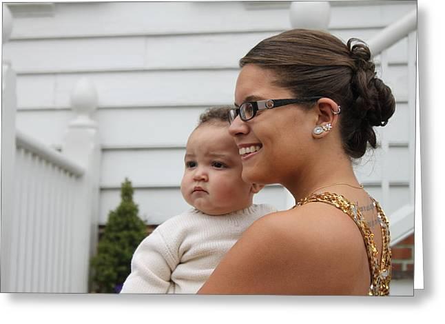 Young Girl And Baby Greeting Card by Carolyn Ricks