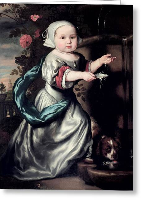 Young Girl At A Fountain, 1662 Oil On Canvas Greeting Card by Nicolaes Maes