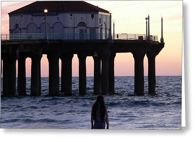 Young Girl At Beach Gazing At Sunset Greeting Card by Jeff Lowe