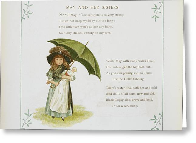 Young Girl Holding An Umbrella Greeting Card by British Library