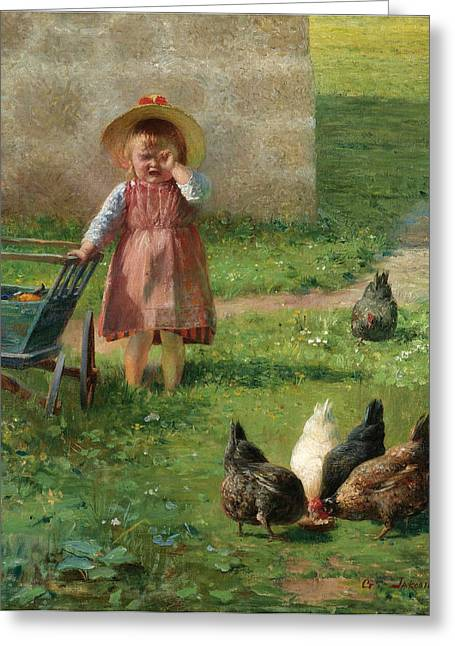 Young Girl In A Garden Greeting Card by Georgios Jakovidis