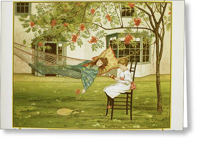 Young Girl In A Hammock Greeting Card by British Library