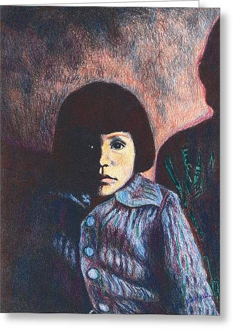 Young Girl In Blue Sweater Greeting Card by Kendall Kessler