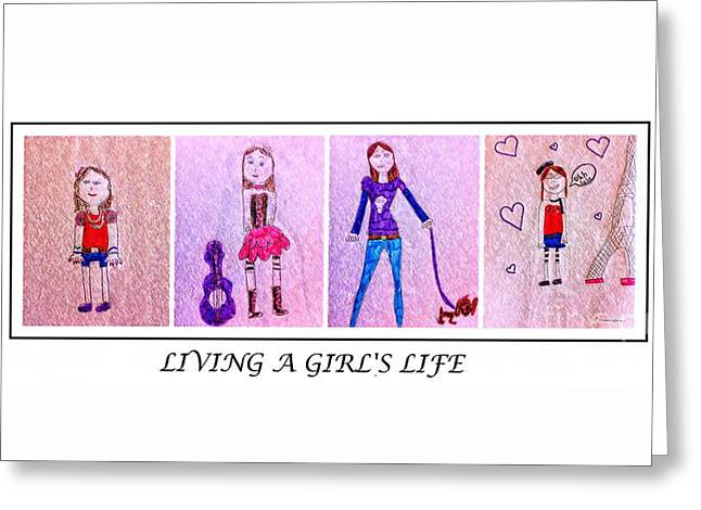 Young Girl - Living A Girl's Life - Child's Drawing - Children's Art Greeting Card by Barbara Griffin and Jaden