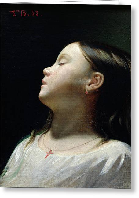 Young Girl Sleeping Greeting Card by Leon Joseph Florentin Bonnat