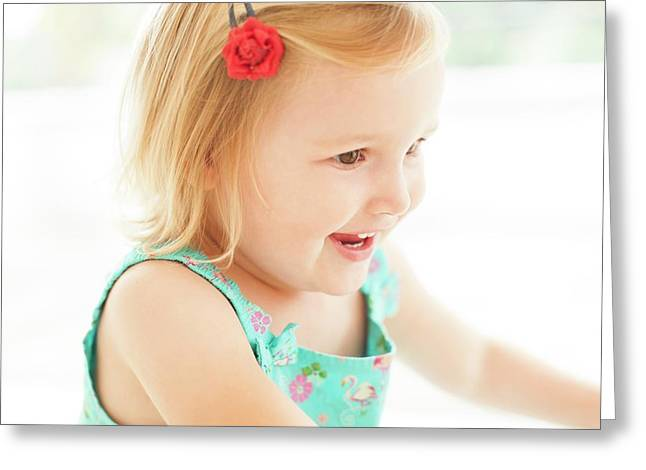 Young Girl Smiling Greeting Card by Ian Hooton