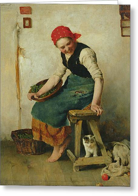 Young Girl With A Cat, 1884 Oil On Paper Greeting Card