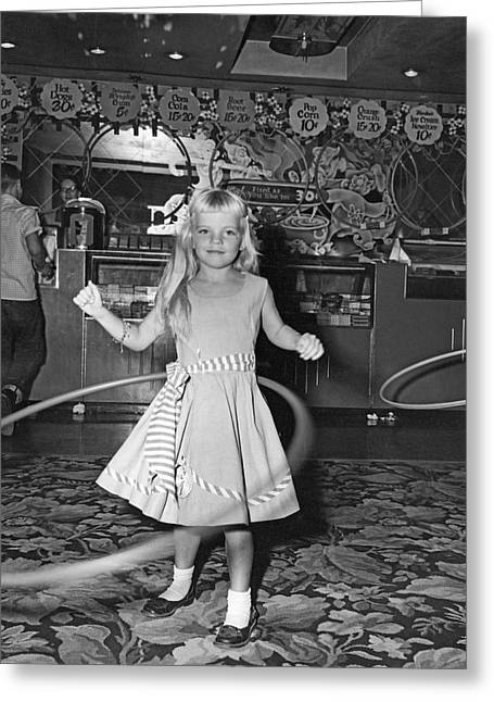 Young Girl With Hula Hoop Greeting Card by Underwood Archives
