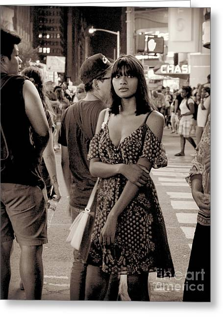 Girl With Red Dress - Times Square Greeting Card