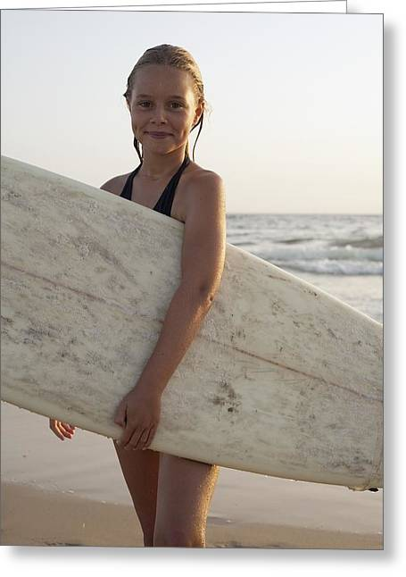 Young Girl With Surfboard Greeting Card