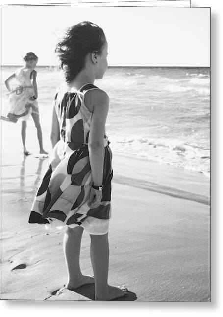 Young Girls At The Beach  Varadero, Cuba Greeting Card