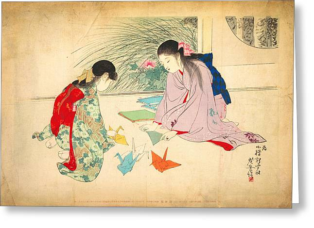 Young Girls Making Paper Cranes Greeting Card