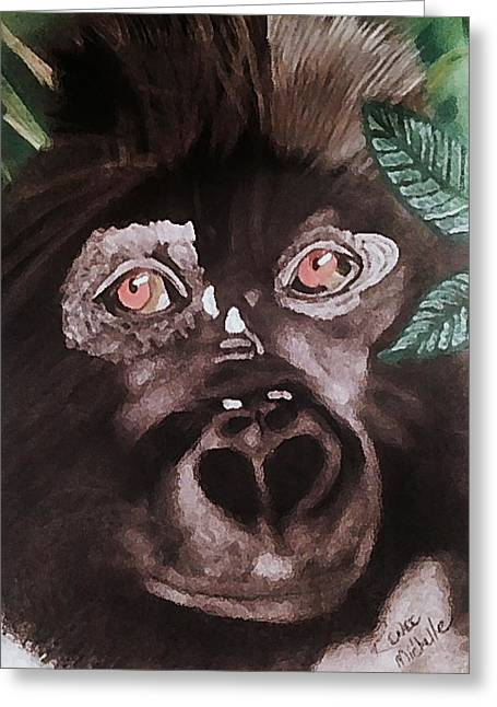 Young Gorilla Greeting Card by Renee Michelle Wenker