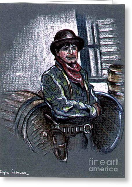 Greeting Card featuring the painting Young Gunfighter by Joyce Gebauer