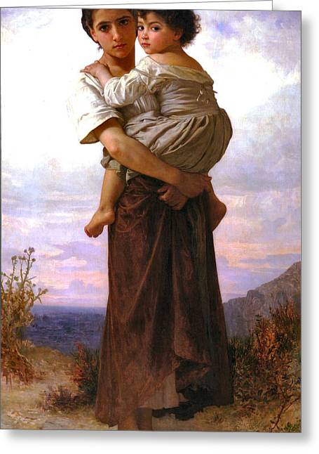 Young Gypsies Greeting Card by William Bouguereau