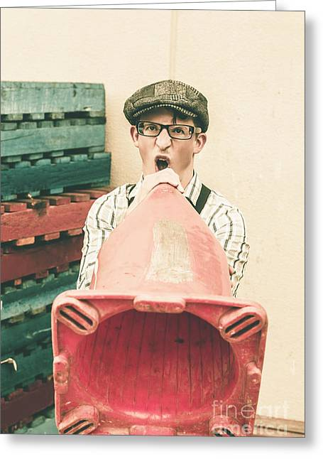 Young Handsome Man Sounding Out Megaphone Call Greeting Card by Jorgo Photography - Wall Art Gallery