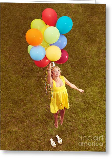 Young Happy Woman Flying On Colorful Helium Balloons Greeting Card