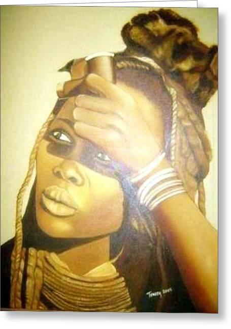 Young Himba Girl - Original Artwork Greeting Card