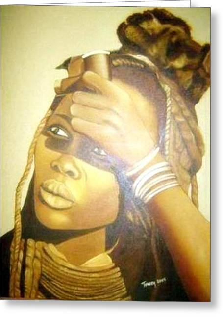 Young Himba Girl - Original Artwork Greeting Card