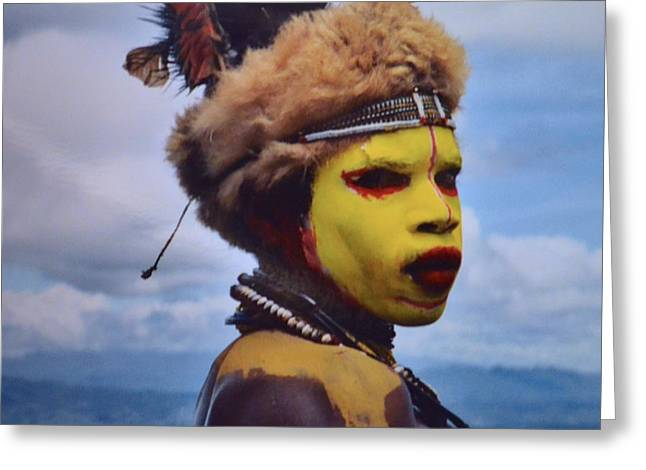 Young Huli Warrior Papua New Guinea Greeting Card by Alex King