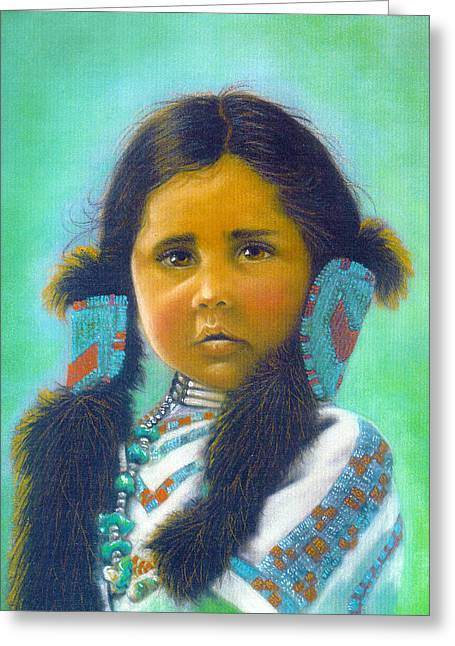 Young Indian Girl Greeting Card by Sally  Evans