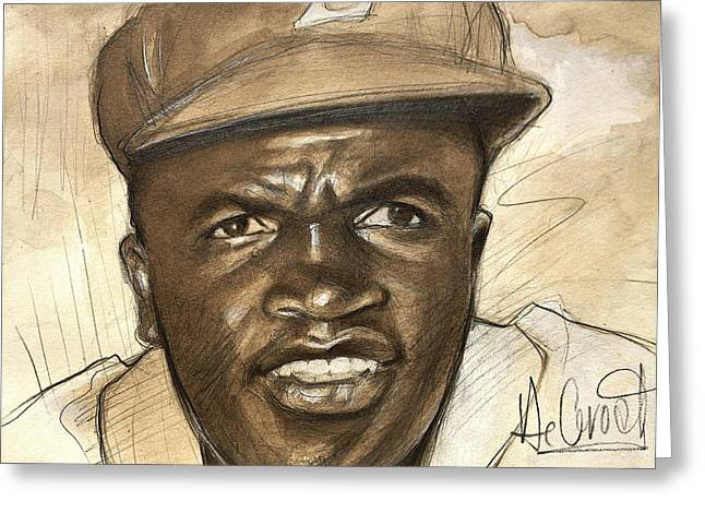 Young Jackie Robinson Greeting Card by Gregory DeGroat