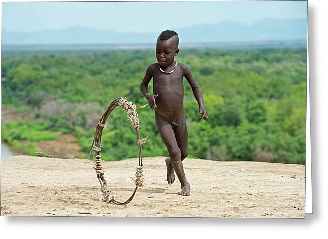 Young Karo Boy With Home Made Toy Hoop Greeting Card