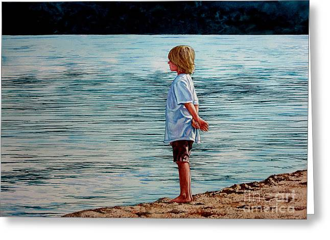 Young Lad By The Shore Greeting Card