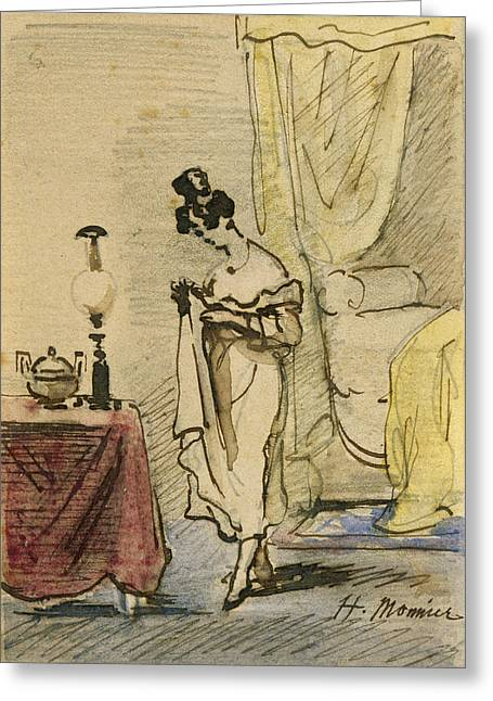 Young Lady At Home Ink & Wc On Paper 2jeune Fille Dans Un Interieur; Intimite; Greeting Card