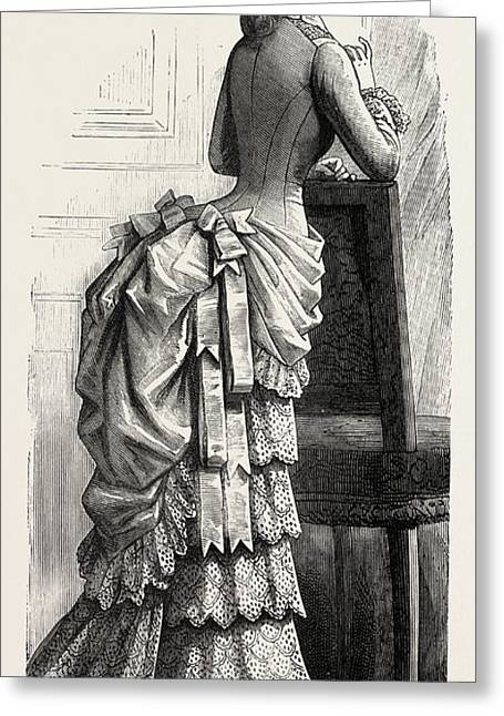 Young Ladys Demi-toilette Back,  Fashion Greeting Card by English School