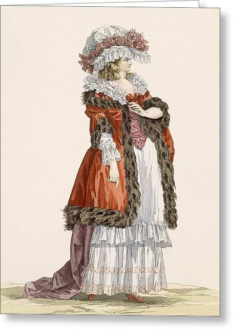 Young Ladys Promenade Dress, Engraved Greeting Card