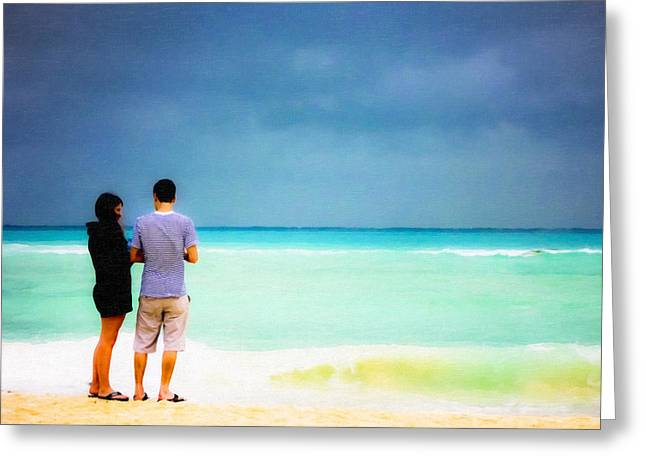 Young Love And The Stormy Sea Greeting Card by Mark E Tisdale