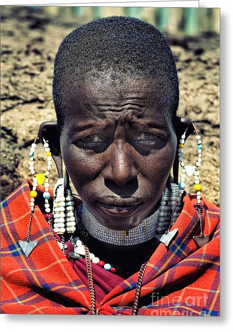 Greeting Card featuring the photograph Portrait Of Young Maasai Woman At Ngorongoro Conservation Tanzania by Amyn Nasser