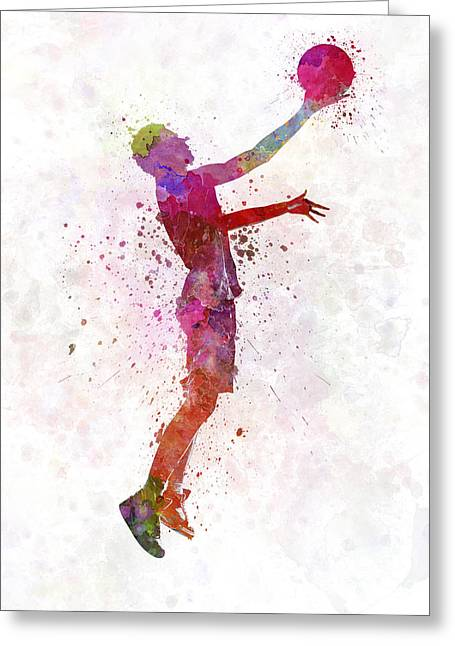 Young Man Basketball Player Greeting Card by Pablo Romero