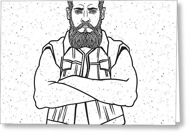Young Man Bearded Biker. Hand Drawing Greeting Card