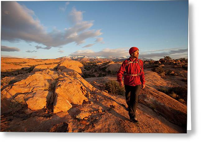 Young Man Hiking On Slickrock Greeting Card