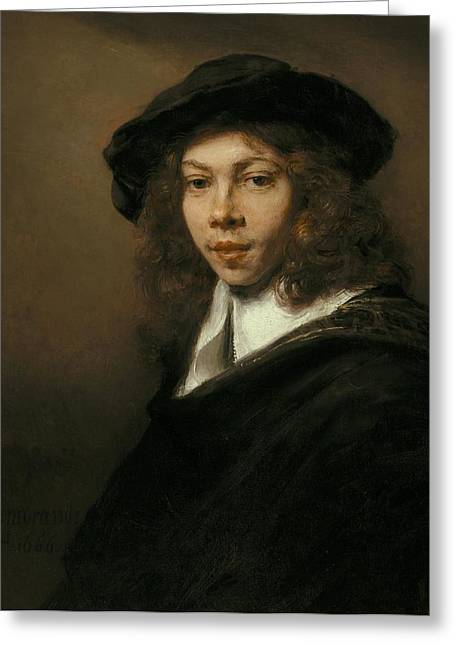 Young Man In A Black Beret Greeting Card by Rembrandt van Rijn