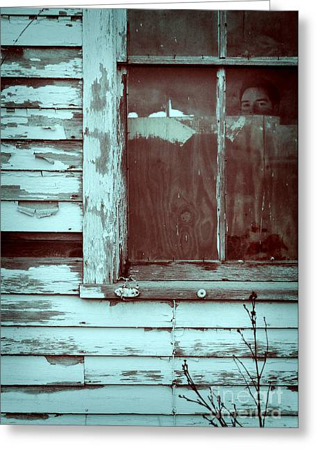 Young Man Looking Out Window Of Abandoned Building Greeting Card
