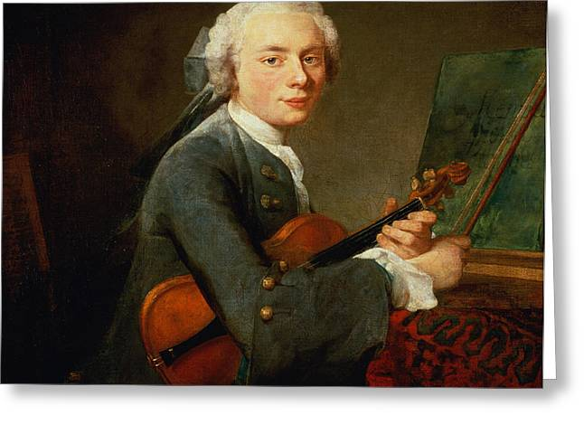 Young Man With A Violin, Or Portrait Of Charles Theodose Godefroy 1718-96 C.1738 Oil On Canvas Greeting Card